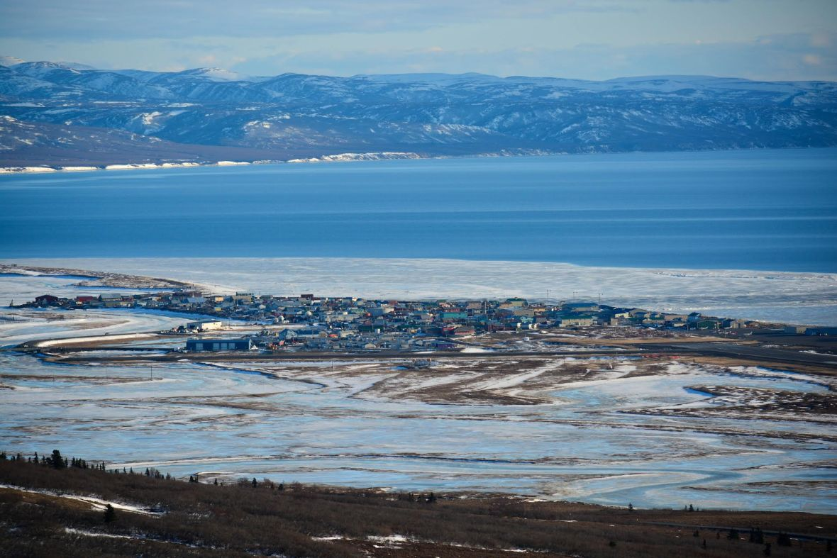 This photo of Unalakleet was taken in April, when water normally has been covered with ice and snow. Photo by Fisher Dill.