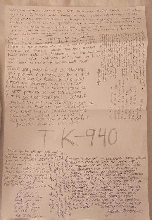 Las compañeras del bloque 940 del centro de detención de El Paso, a quienes Rosa les compartió el evangelio, le escribieron una carta para expresar su apoyo antes de que la deportaran.
