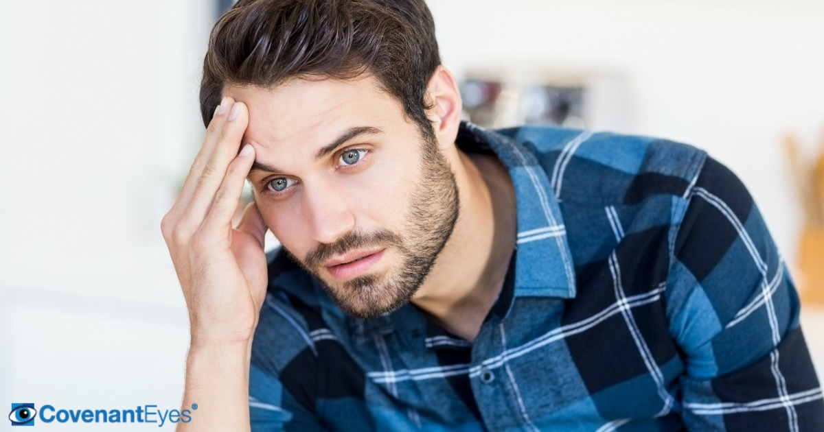 man contemplating why he can't stop watching porn