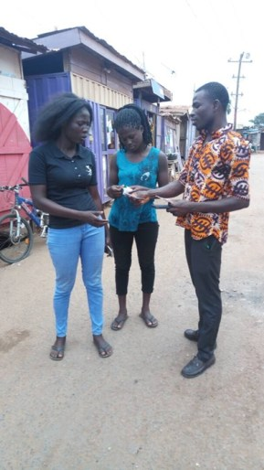 Two women receiving tracts