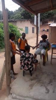 Praying with two women