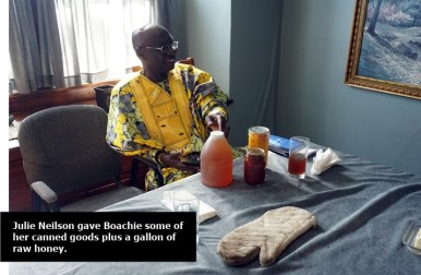 Boachie with gifts from Nielsons