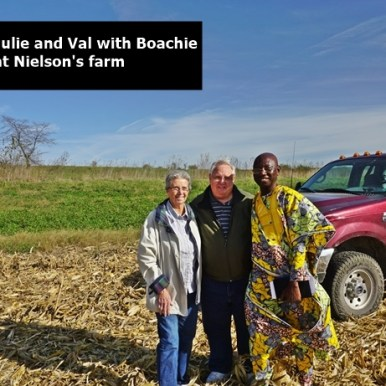 Julie, Val and Boachie in the field at Neilsons