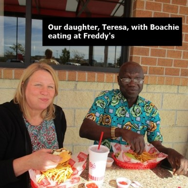 Teresa and Boachie at Freddy's Oct 25, 2017