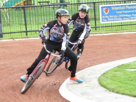 Coventry juniors Spencer Sawbridge and Ollie Morris in action