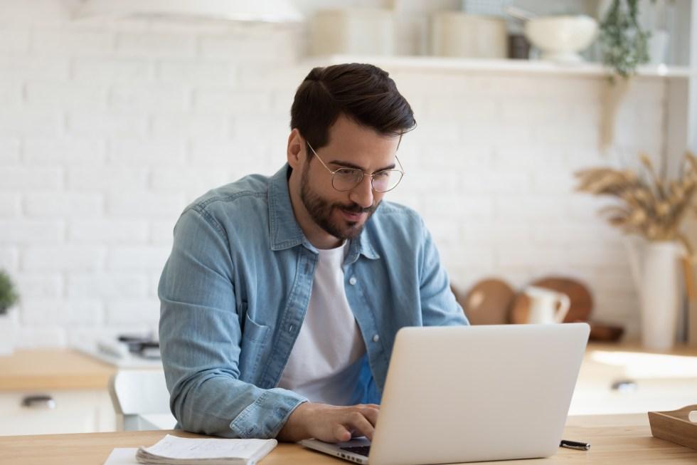 Man working on website development.