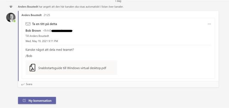bild som visar ett mejl som delats i en kanal i Teams.