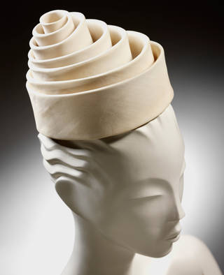 Spiral silk hat for Eisa, 1962 Spain. (c) V&A
