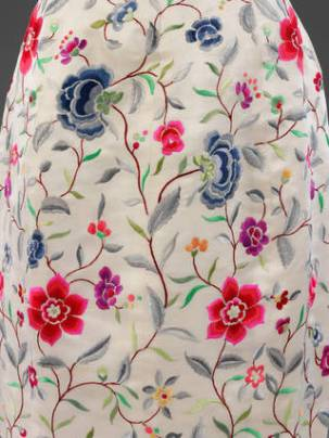 Detail of silk evening dress; embroidery by Lesage; 1960-1962 (c) V&A
