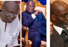 Ken Ofori-Atta, President Nana Addo Dankwa Akufo-Addo and Gabby Asare Otchere Darko