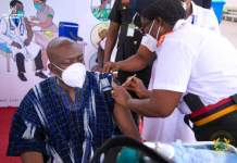 Kojo Oppong Nkrumah takes his covid-19 vaccine publicly