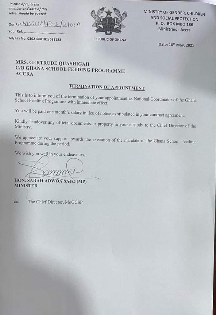 National School Feeding Coordinator sacked 1