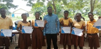 NUTSA National President Mr. Wisdom Sogah and students of DASTECH Basic School