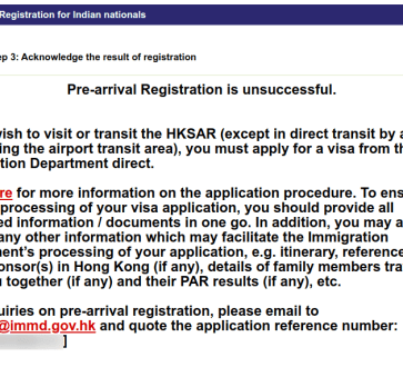 Hong Kong Pre arrival registration denied