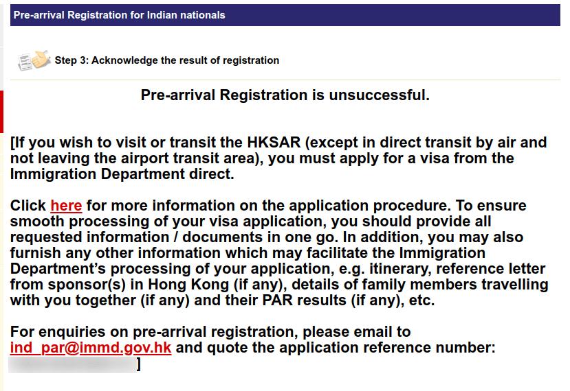 Hong Kong Pre arrival registration denied
