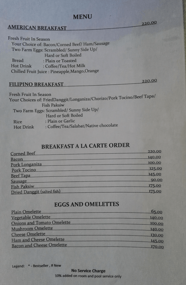 Venia's Kitchen breakfast menu