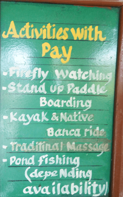 Paid activities at Loboc River resort, Bohol