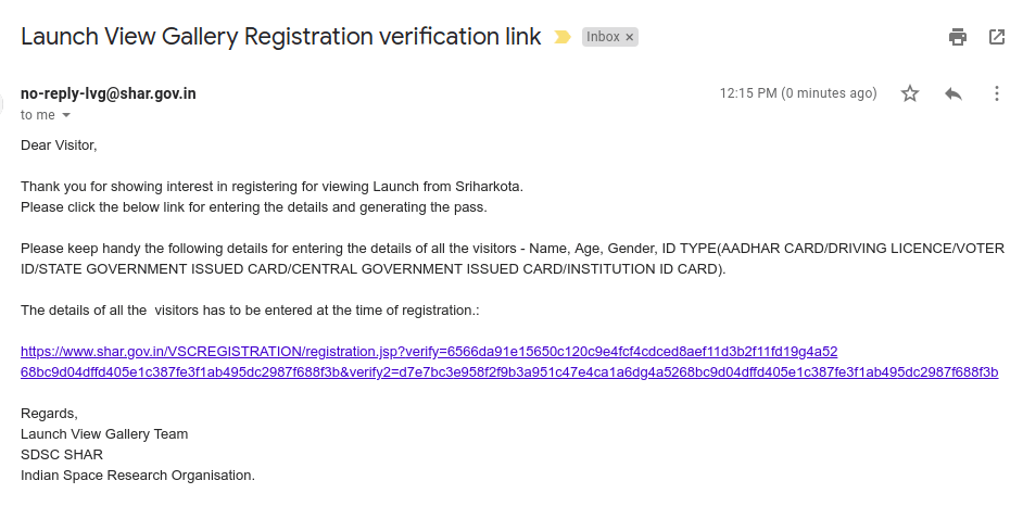 Registration verification email