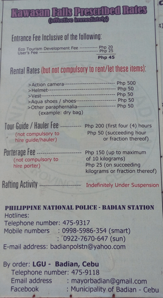 Entrance Fee at Kawasan Falls