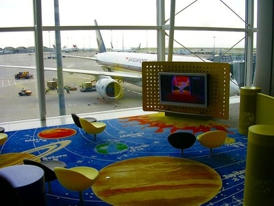 Childrens TV lounge at HKIA
