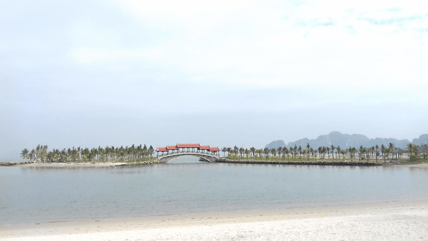 View of the Tuan chau beach from Sandy Bay cafe