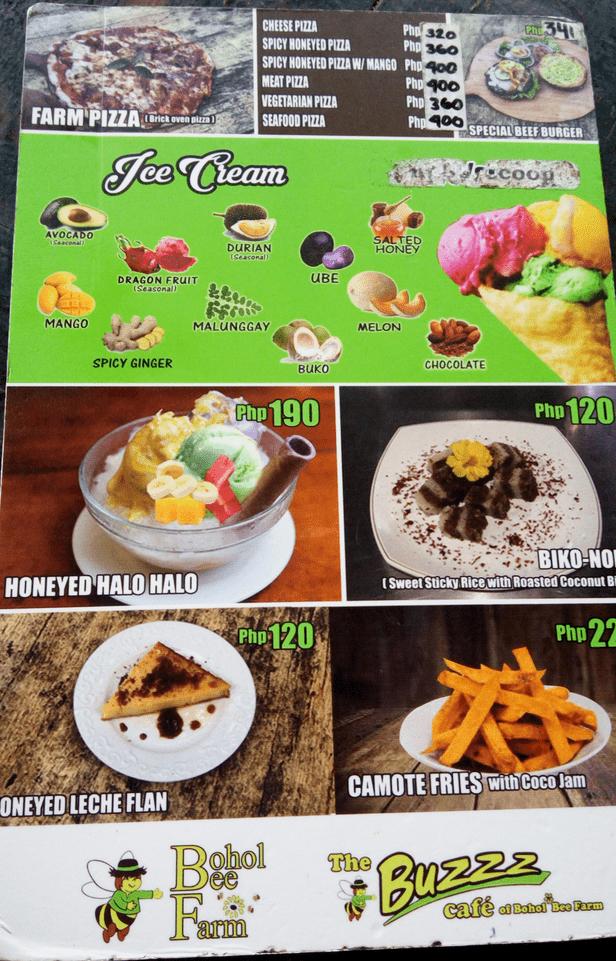 Bohol Bee Farm, Panglao menu