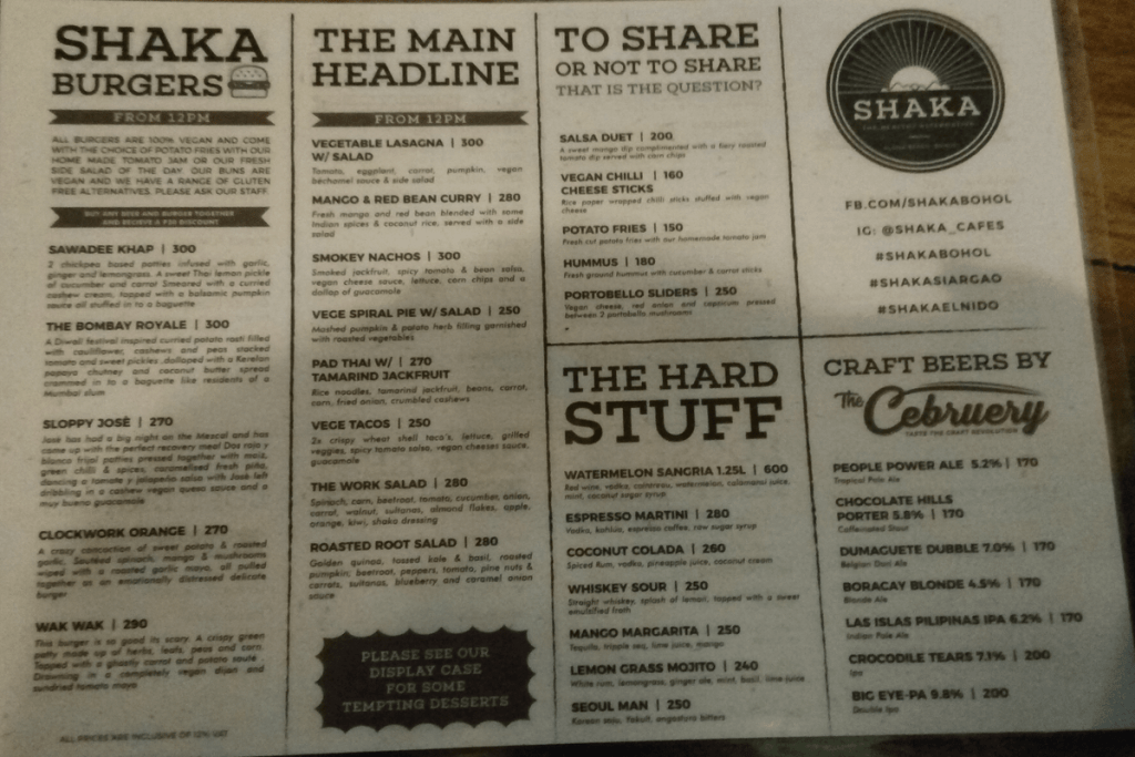 Menu at Shaka Vegan Restaurant, Panglao