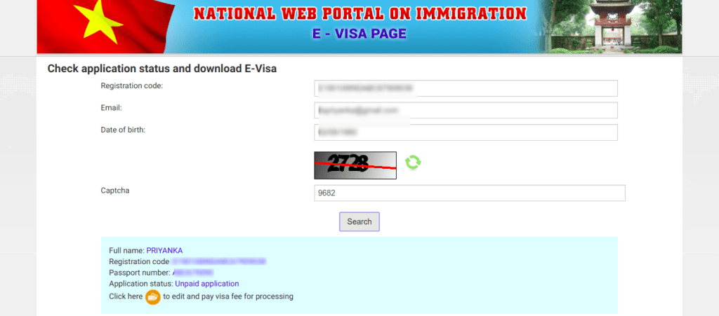 Status of Vietnam online Visa application form