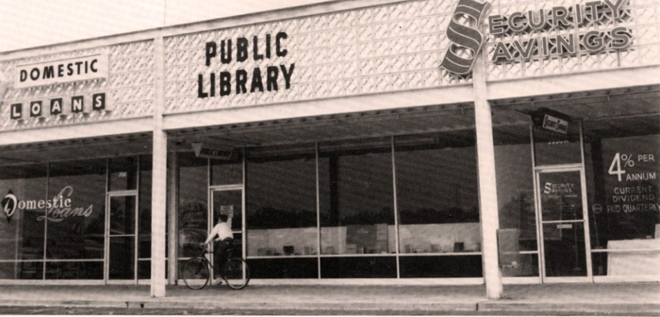 Library storefront in 1963