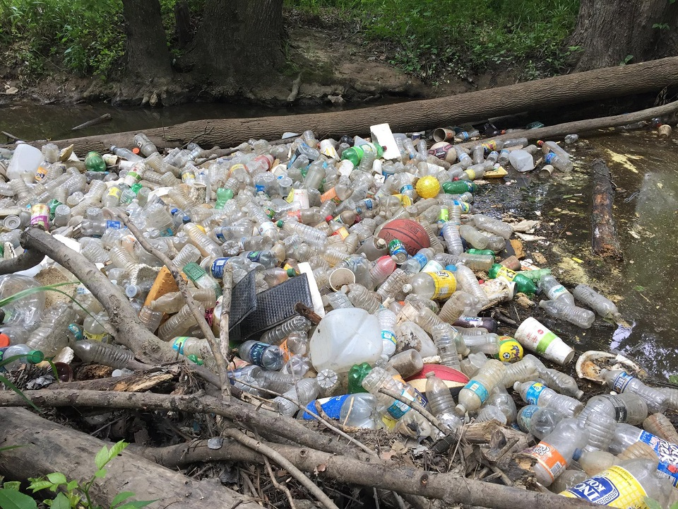 bottles massed in creek