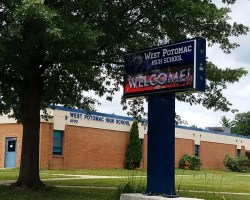 West Potomac sign in front of school