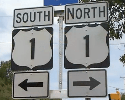 South and North Route 1 signs