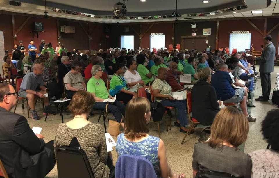 crowd at meeting