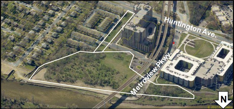 overhead view of the site