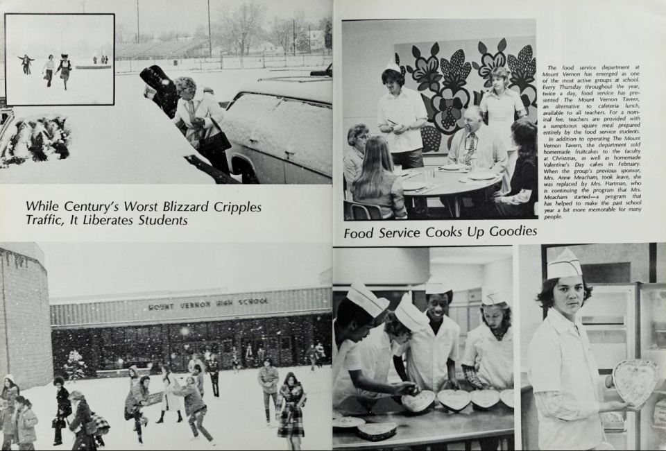 year book page with various images on it, including kids playing in the snow