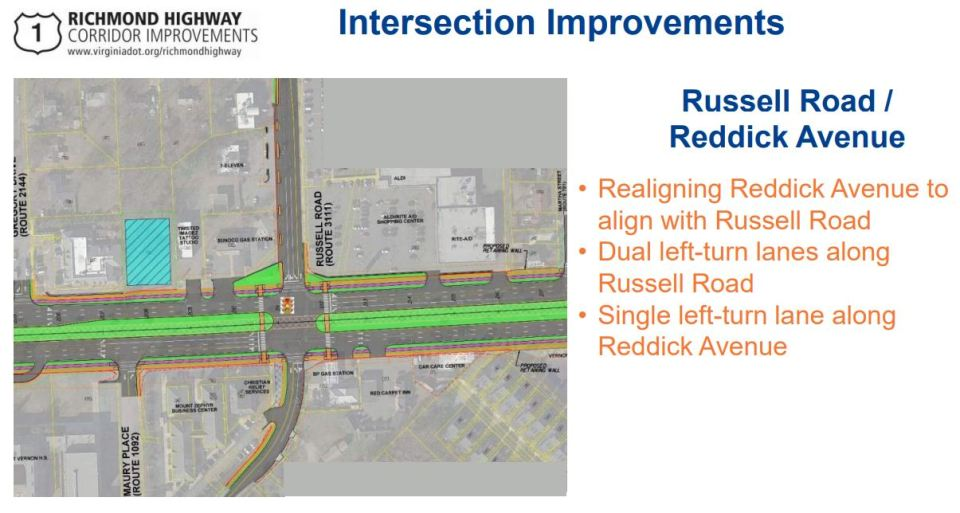 Slide showing Reddick Avenue/Russell Road changes
