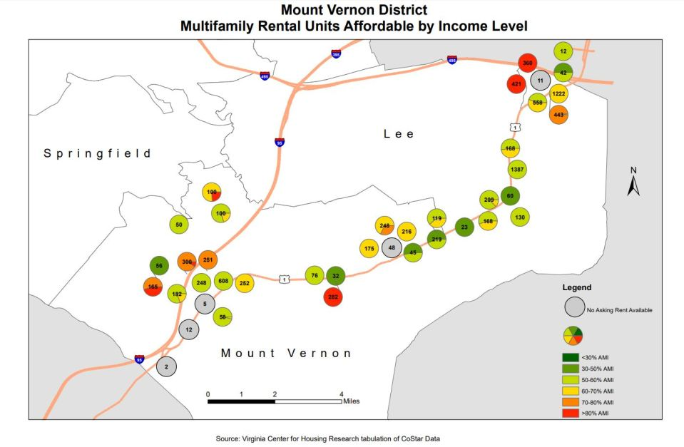 Housing locations plotted on map