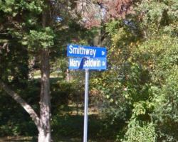 Google Maps image of Smithway Drive and Mary Baldwin Drive signs