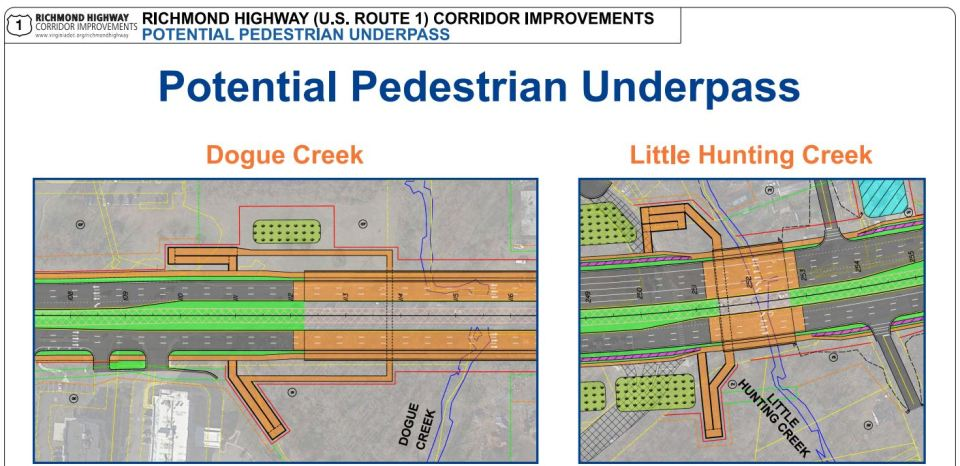 Slide from VDOT presentation showing locations of bridges and potential underpasses