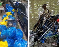Two images, one with bags of trash from the cleanup and another of a cart being pulled from the creek