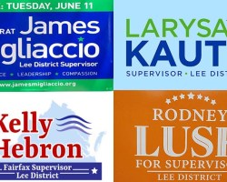 Collage of the four candidates logos