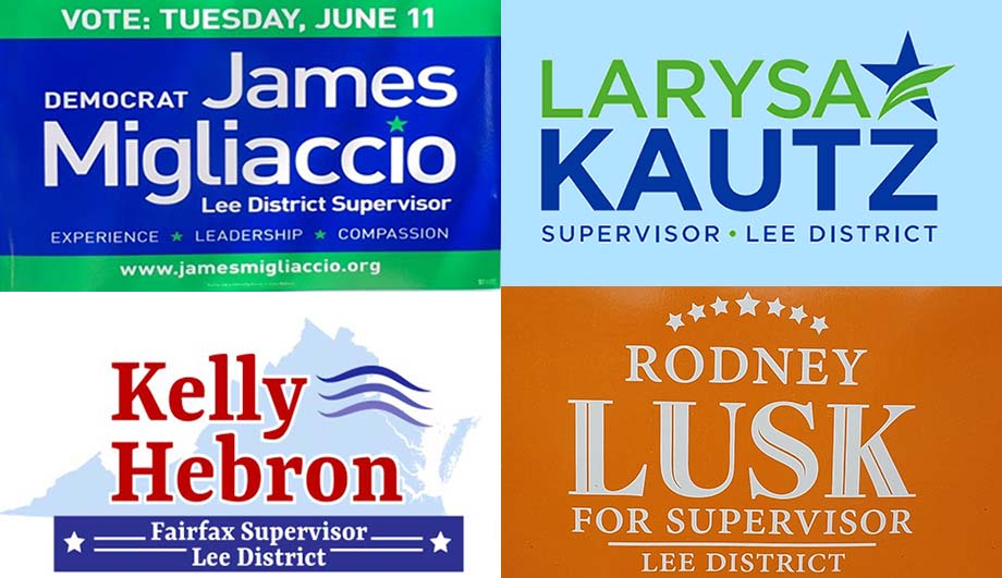 Collage of the logos for the four candidates