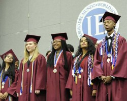 Students wearing graduation robes