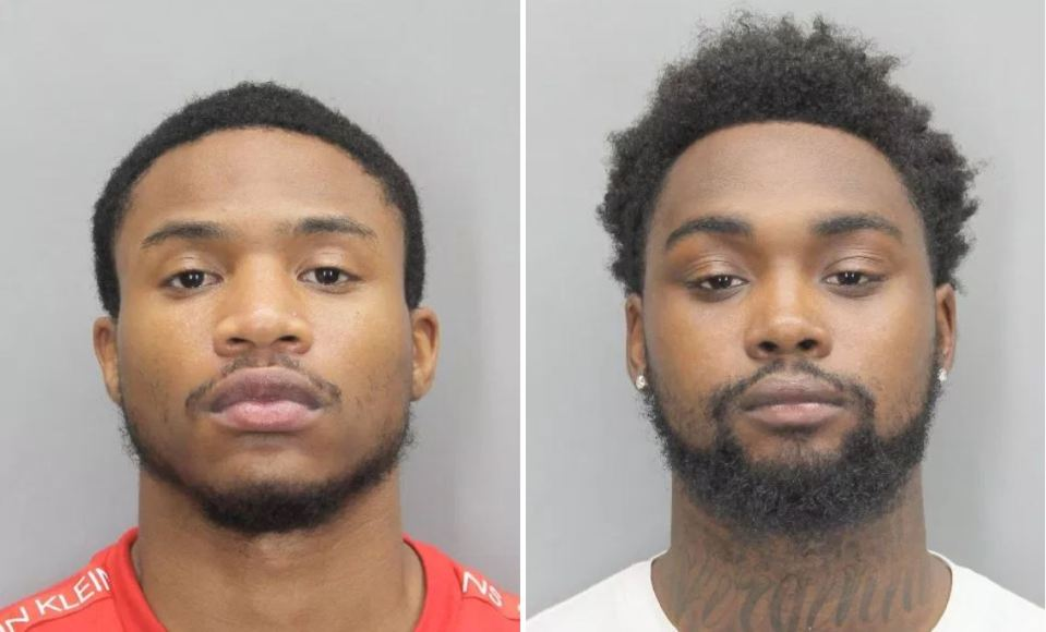 Side-by-side mugshots of suspects