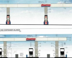 Drawing of gas pumps