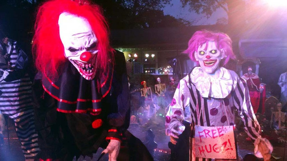 """Scary clowns in makeup at """"The Haunting of Yacht Haven"""""""
