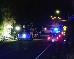 Nightime image of police cars with lights on near the bridge on Old Mill Road