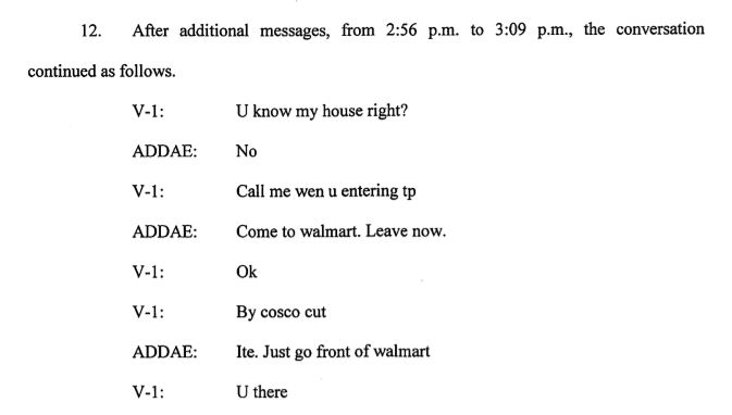 Text between Addae and the victim