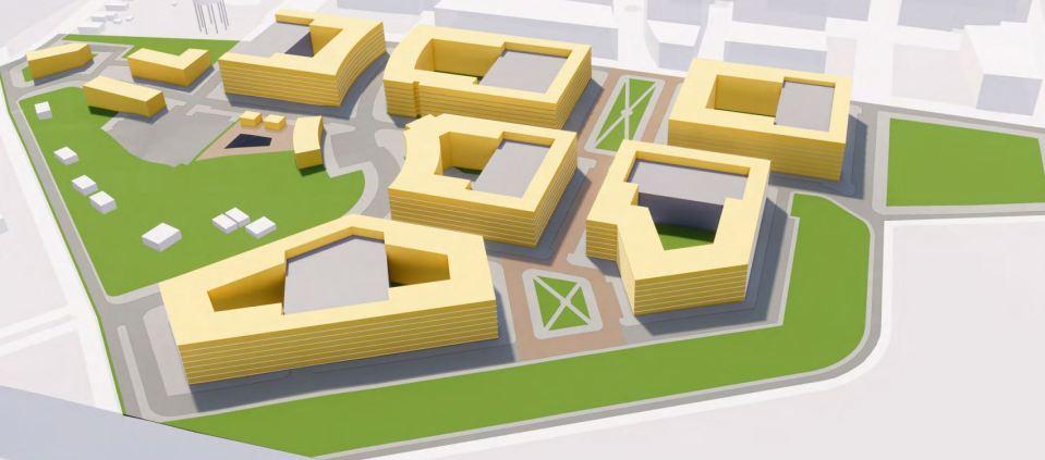 3D rendering of low-rise apartment buildings