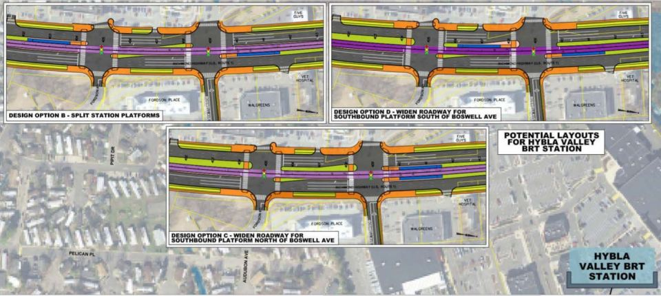 Map showing three renderings of possible Fordson Road intersection alternatives